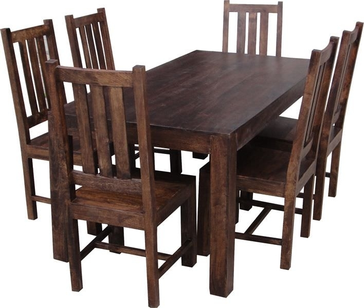 Buy Jaipur Dakota Walnut Mango Wood Large Dining Set With 6 Dakota In Walnut Dining Tables And 6 Chairs (Image 11 of 25)