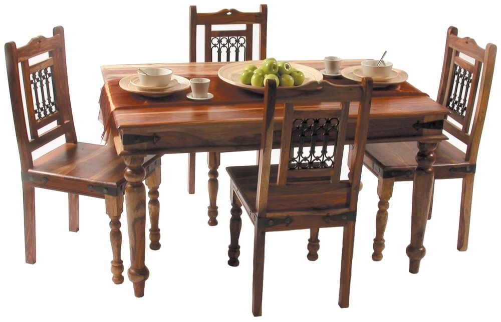 Buy Jaipur Jali Sheesham Small Dining Set With 4 Chairs – 135Cm Within Sheesham Dining Tables And 4 Chairs (Image 1 of 25)