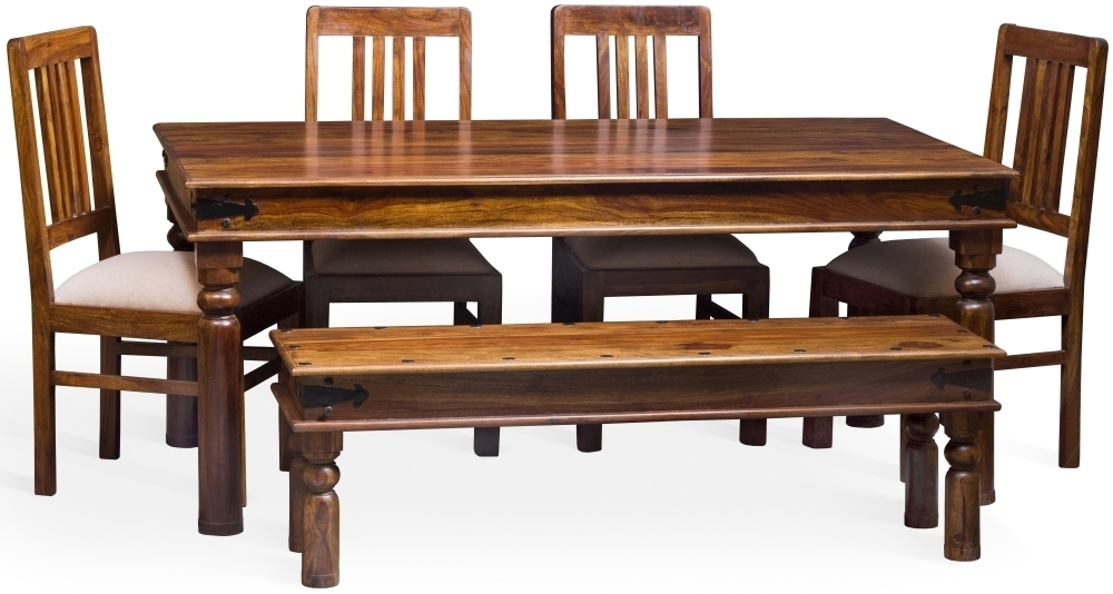 Buy Jali Sheesham Wood Rectangular Dining Set With 4 Chairs And In Sheesham Dining Tables And 4 Chairs (Image 2 of 25)