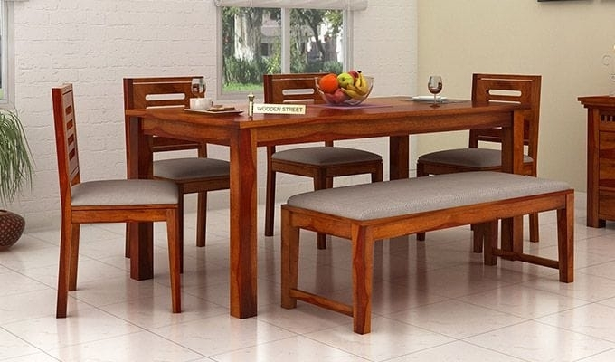 Buy Janet 6 Seater Dining Table Set With Bench (Honey Finish) Online Inside 6 Seat Dining Table Sets (View 9 of 25)