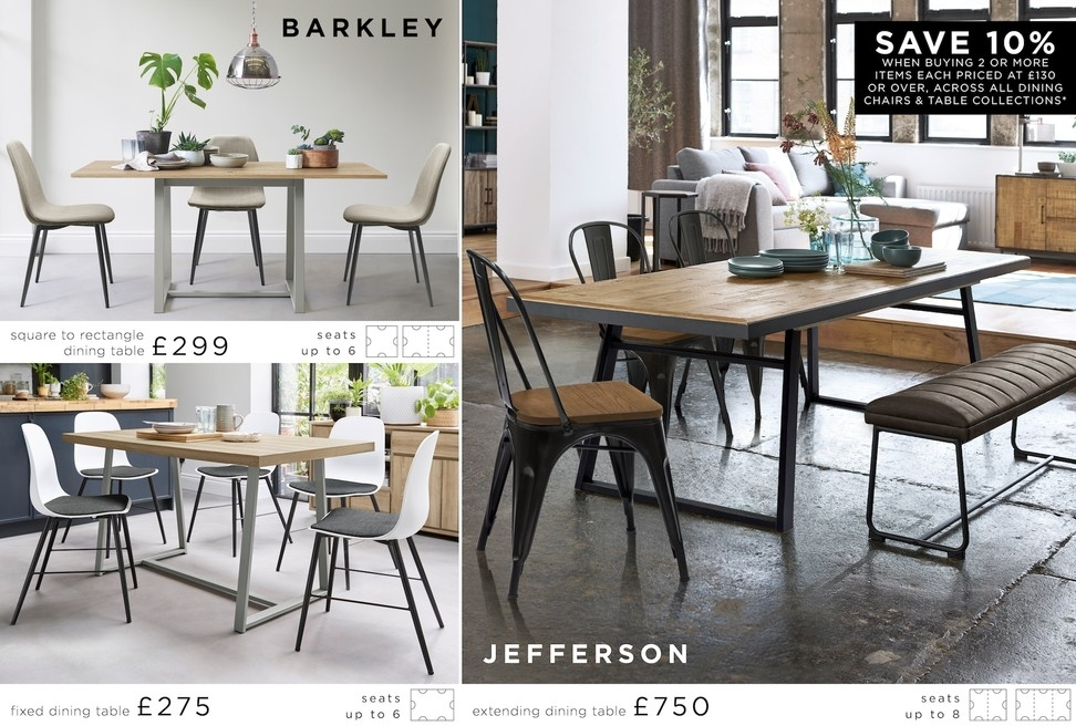 Buy Jefferson Extending Dining Table From The Next Uk Online Shop With Regard To Jaxon Grey 6 Piece Rectangle Extension Dining Sets With Bench & Uph Chairs (View 15 of 25)