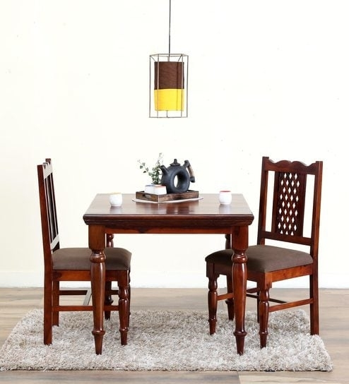 Buy Krisa Solid Wood Two Seater Dining Set In Honey Oak Finish Intended For Two Seat Dining Tables (Image 6 of 25)