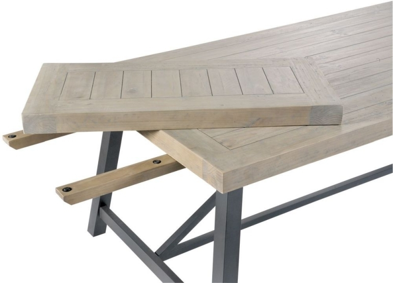 Buy Liddle Industrial Reclaimed Wood Extending Dining Table Online Pertaining To Extendable Dining Sets (Image 4 of 25)