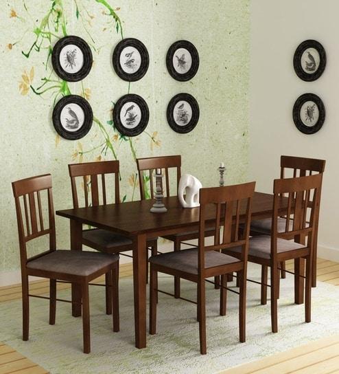 Buy Mariko Six Seater Dining Set In Walnut Finishmintwud Online Inside Dining Sets (View 12 of 25)