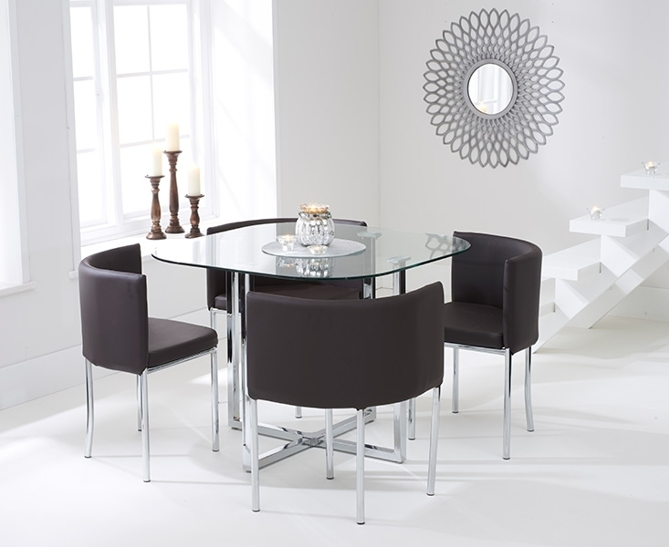 Buy Mark Harris Abingdon Stowaway Glass Dining Set – 100Cm Square For Glass Dining Tables And Chairs (View 25 of 25)
