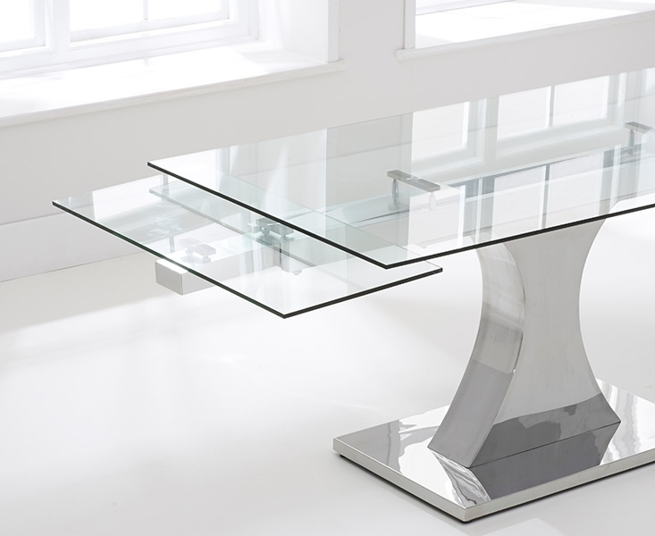 Buy Mark Harris Amber Glass Dining Table – 160Cm Rectangular With Regard To Glass Extending Dining Tables (View 2 of 25)