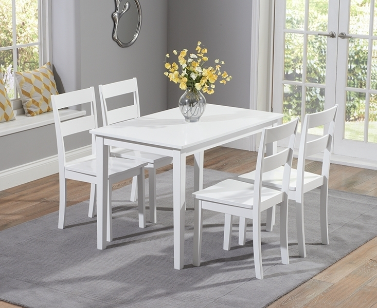 Buy Mark Harris Chichester White Dining Set – 115Cm Rectangular With For White Dining Tables And Chairs (Image 2 of 25)