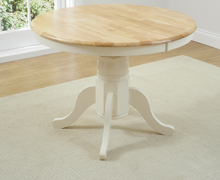 Buy Mark Harris Elstree Oak And Cream Dining Table – 100Cm Round Throughout Round Extendable Dining Tables (Image 2 of 25)