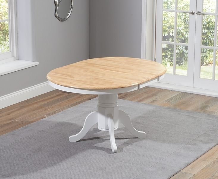 Buy Mark Harris Elstree Oak And White Dining Table – 100Cm Round Regarding White Round Extendable Dining Tables (Image 3 of 25)