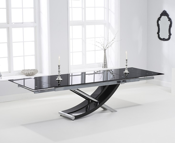 Buy Mark Harris Hanover Black Glass Dining Set – 210Cm Rectangular In Extending Glass Dining Tables And 8 Chairs (Image 5 of 25)