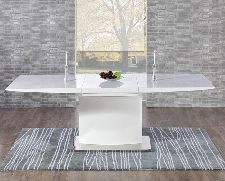 Buy Mark Harris Hayden White High Gloss Dining Set – 160Cm In High Gloss Dining Chairs (View 24 of 25)