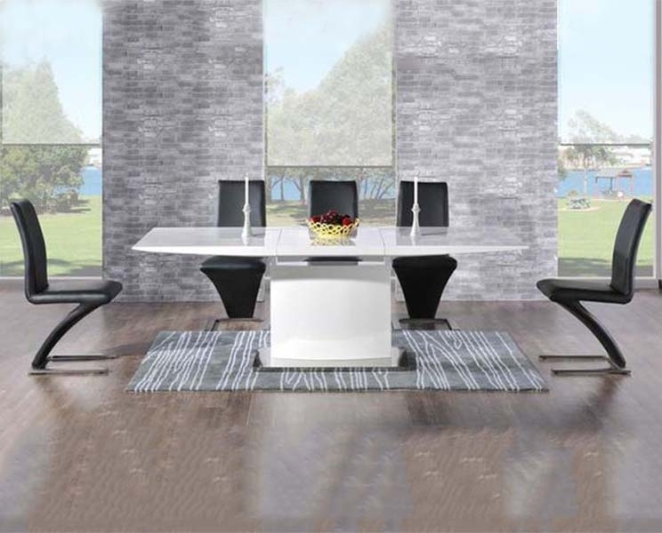 Buy Mark Harris Hayden White High Gloss Dining Set – 160Cm Pertaining To Black Gloss Dining Tables And 6 Chairs (Image 5 of 25)