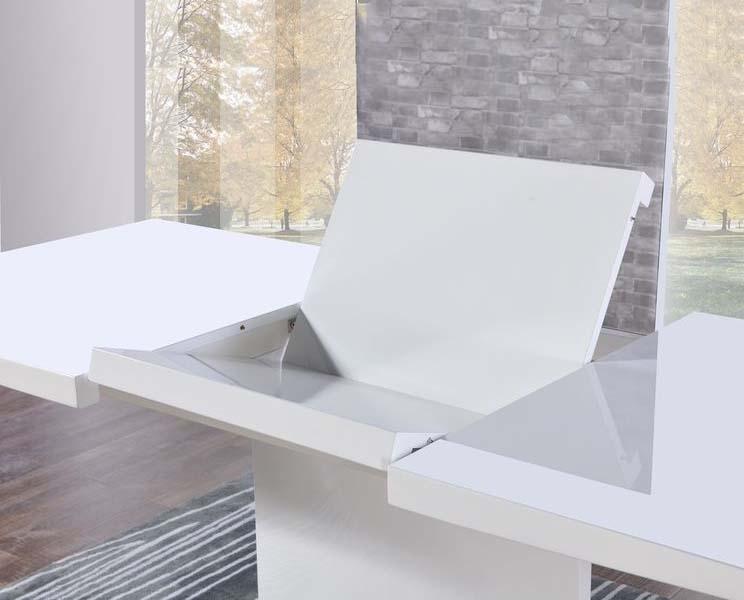 Buy Mark Harris Hayden White High Gloss Dining Set – 160Cm Throughout High Gloss Dining Sets (View 25 of 25)