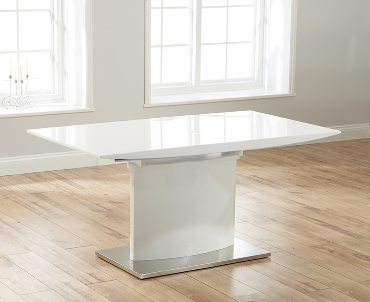 Buy Mark Harris Hayden White High Gloss Dining Table – 160Cm Inside White Extendable Dining Tables (View 11 of 25)
