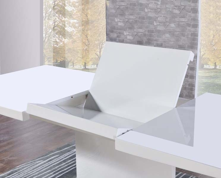 Buy Mark Harris Hayden White High Gloss Dining Table – 160Cm Throughout Cheap White High Gloss Dining Tables (Image 2 of 25)
