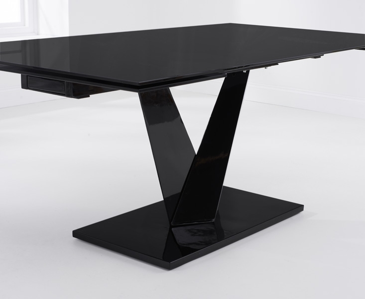 Buy Mark Harris Isla Black Glass Dining Table – 180Cm Rectangular Throughout Black Glass Dining Tables (Image 5 of 25)