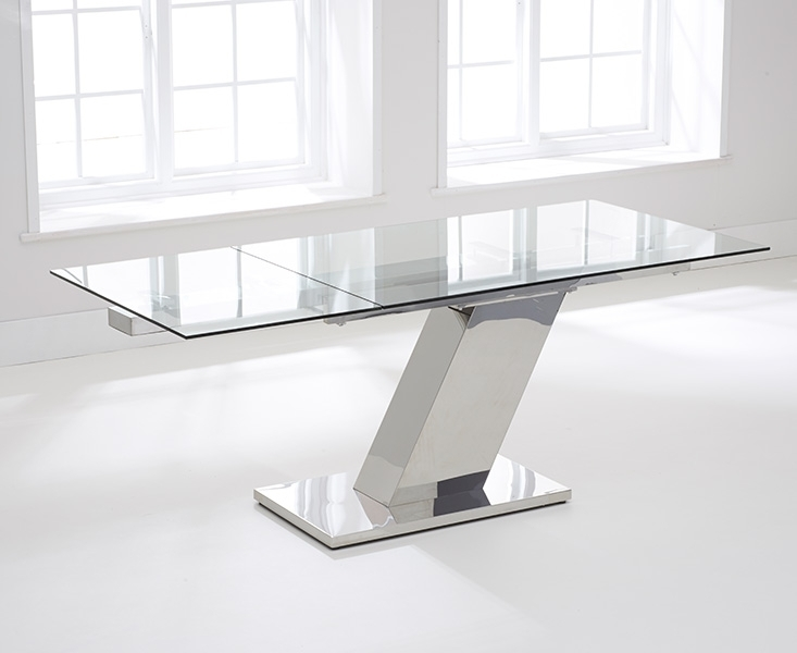 Buy Mark Harris Lamont Glass Dining Table – 140Cm Rectangular Inside Glass Extending Dining Tables (Image 6 of 25)