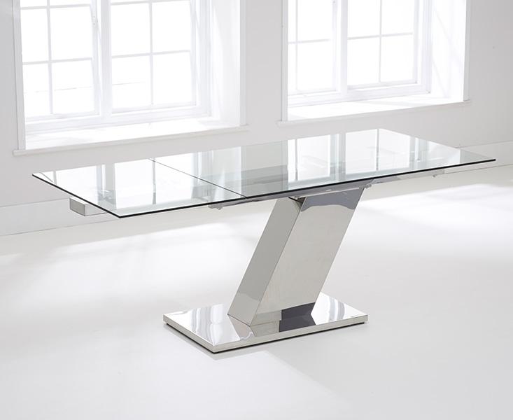 Buy Mark Harris Lamont Glass Dining Table – 140Cm Rectangular Inside Glass Extending Dining Tables (View 8 of 25)