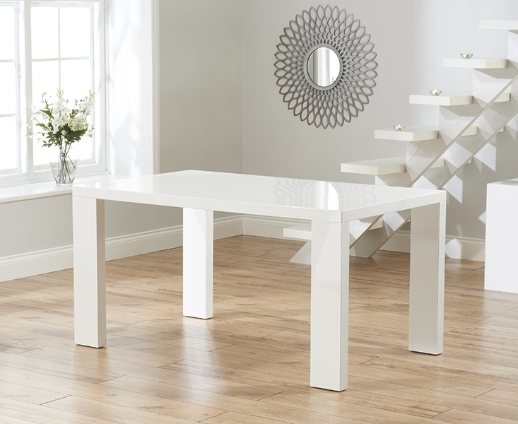 Buy Mark Harris Metz White High Gloss Dining Set – 120Cm Rectangular With High Gloss Dining Chairs (Image 3 of 25)