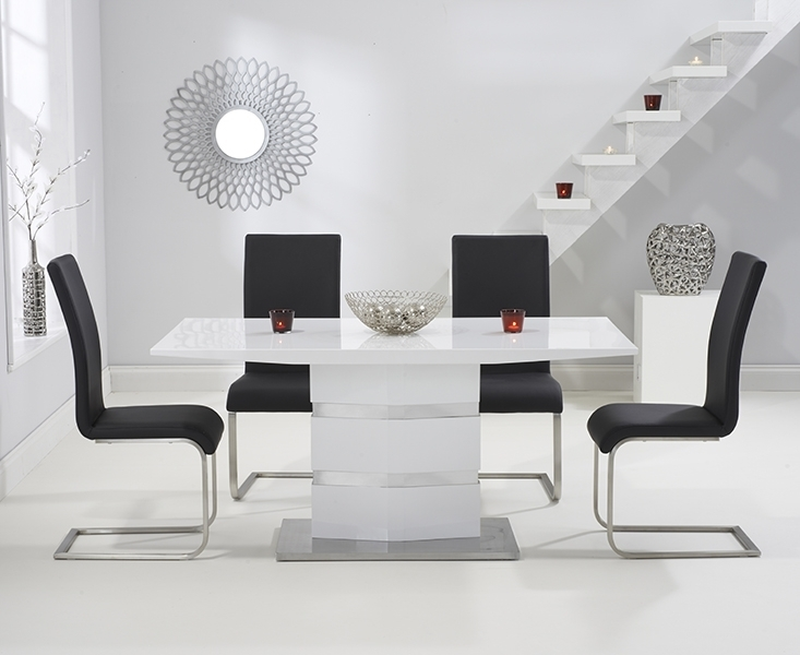 Buy Mark Harris Springfield White High Gloss Dining Set – 160Cm Inside Black High Gloss Dining Chairs (Image 7 of 25)