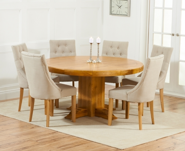 Buy Mark Harris Turin Solid Oak Dining Set – 150Cm Round With 4 With Regard To Round Oak Dining Tables And 4 Chairs (Image 4 of 25)