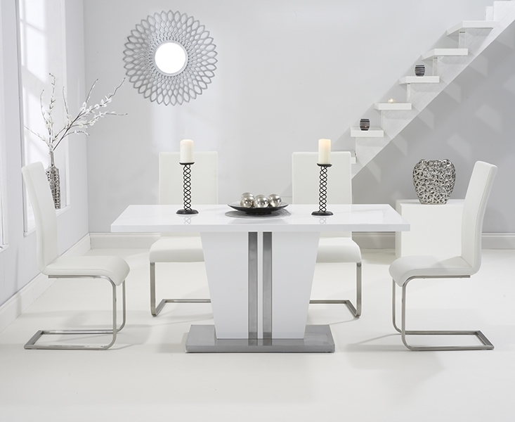 Buy Mark Harris Vigo White High Gloss Dining Set – 160Cm Rectangular In White High Gloss Dining Tables And 4 Chairs (Image 5 of 25)