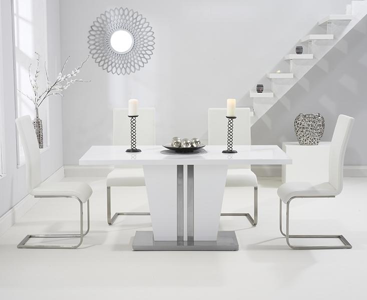 Buy Mark Harris Vigo White High Gloss Dining Set – 160Cm Rectangular Within White High Gloss Dining Chairs (View 4 of 25)