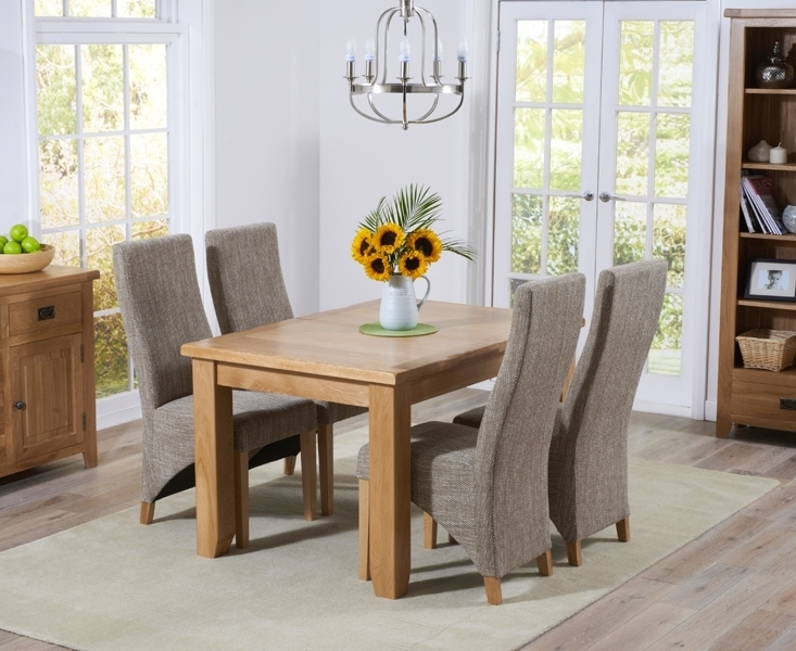 Buy Mark Harris York Solid Oak Dining Set – 130Cm Extending With 4 Throughout Dining Tables And Fabric Chairs (Image 5 of 25)
