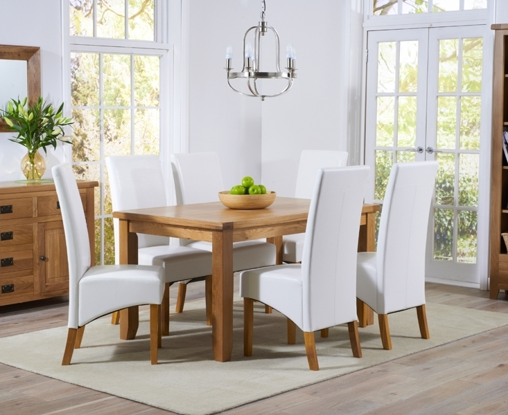 Buy Mark Harris York Solid Oak Dining Set – 140Cm With 4 Venice With Oak Dining Tables And Leather Chairs (Image 2 of 25)