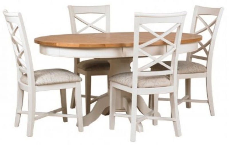 Buy Mark Webster Padstow Painted Round Extending Dining Set With 4 Inside Round Extending Dining Tables And Chairs (Image 6 of 25)