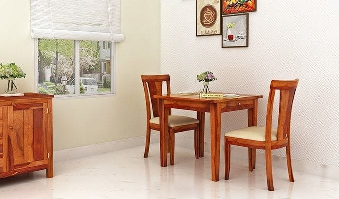Buy Mcbeth Storage 2 Seater Dining Table Set (Honey Finish) Online Within Two Seater Dining Tables And Chairs (View 12 of 25)