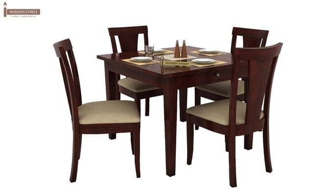 Buy Mcbeth Storage 4 Seater Dining Table Set (Mahogany Finish For 4 Seat Dining Tables (Image 10 of 25)