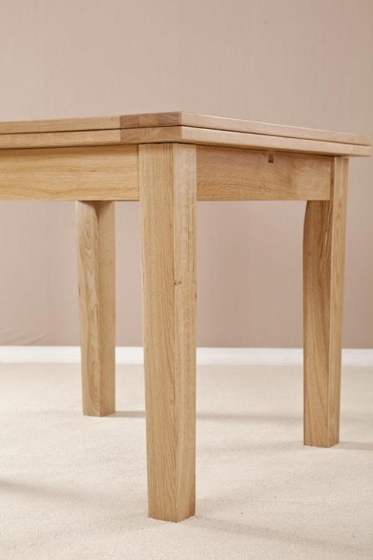 Buy Milano Solid Oak Flip Top Square Extending Dining Table – (View 23 of 25)