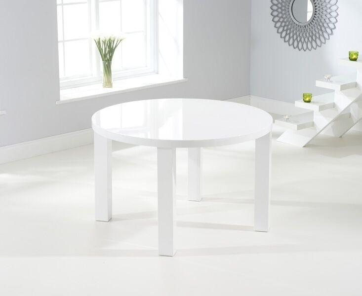 Buy Nikita Round White Gloss Dining Table 120Cm Pertaining To White Gloss Dining Furniture (Image 5 of 25)