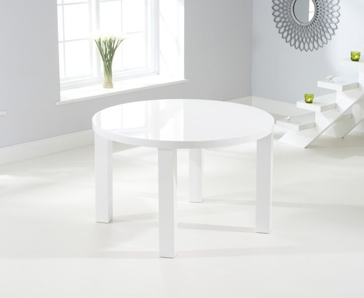 Buy Nikita Round White Gloss Dining Table 120Cm Throughout White Gloss Dining Tables 120Cm (Image 8 of 25)