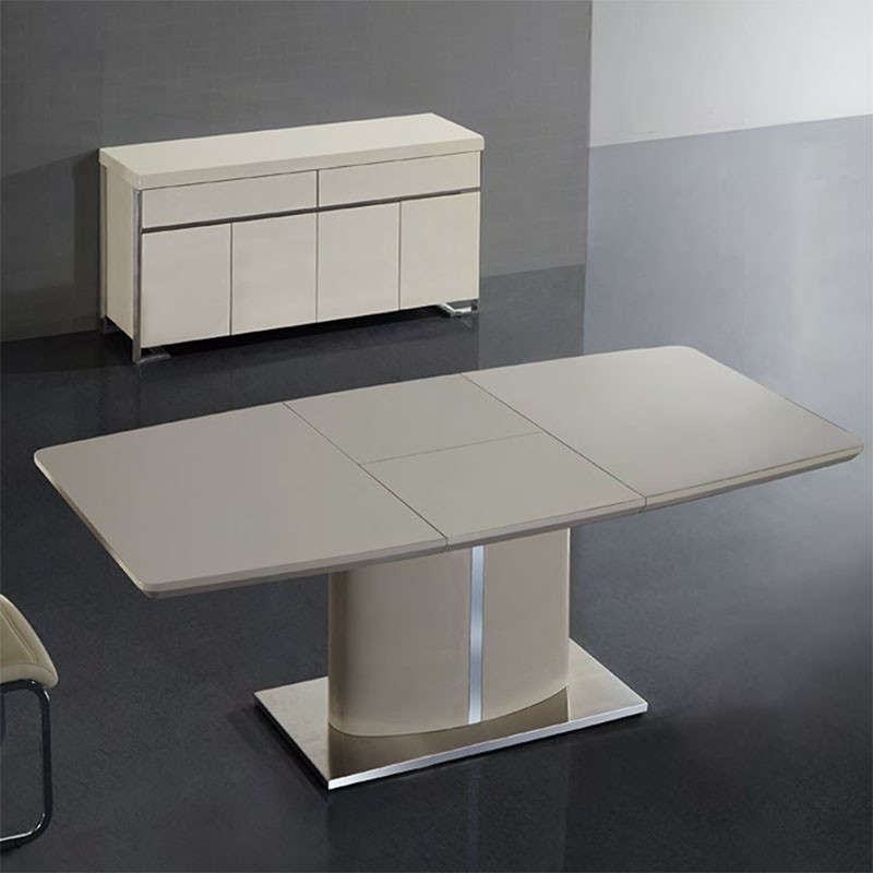 Buy Nora Ivory Cream Gloss Extendable Dining Table 180Cm For Cream High Gloss Dining Tables (Image 4 of 25)