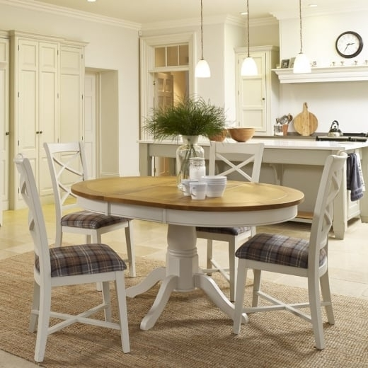 Buy Oak Dining Table & Furniture   Rustic Painted Wood Tables & Chairs Inside Oak Round Dining Tables And Chairs (Image 4 of 25)