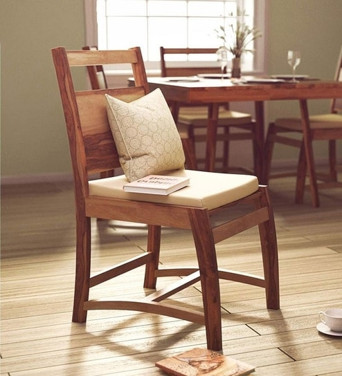 Buy Oakland Dining Chair In Natural Sheesham Wood Finish Inside Sheesham Dining Chairs (Image 3 of 25)