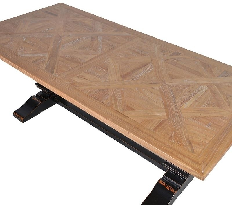 Buy Parquet Top Black Dining Table – 220Cm Online – Cfs Uk Throughout Parquet Dining Tables (Image 5 of 25)