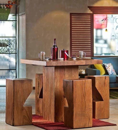 Buy Portland Solid Wood Four Seater Dining & Bar Set In Natural Pertaining To Portland 78 Inch Dining Tables (Image 1 of 25)