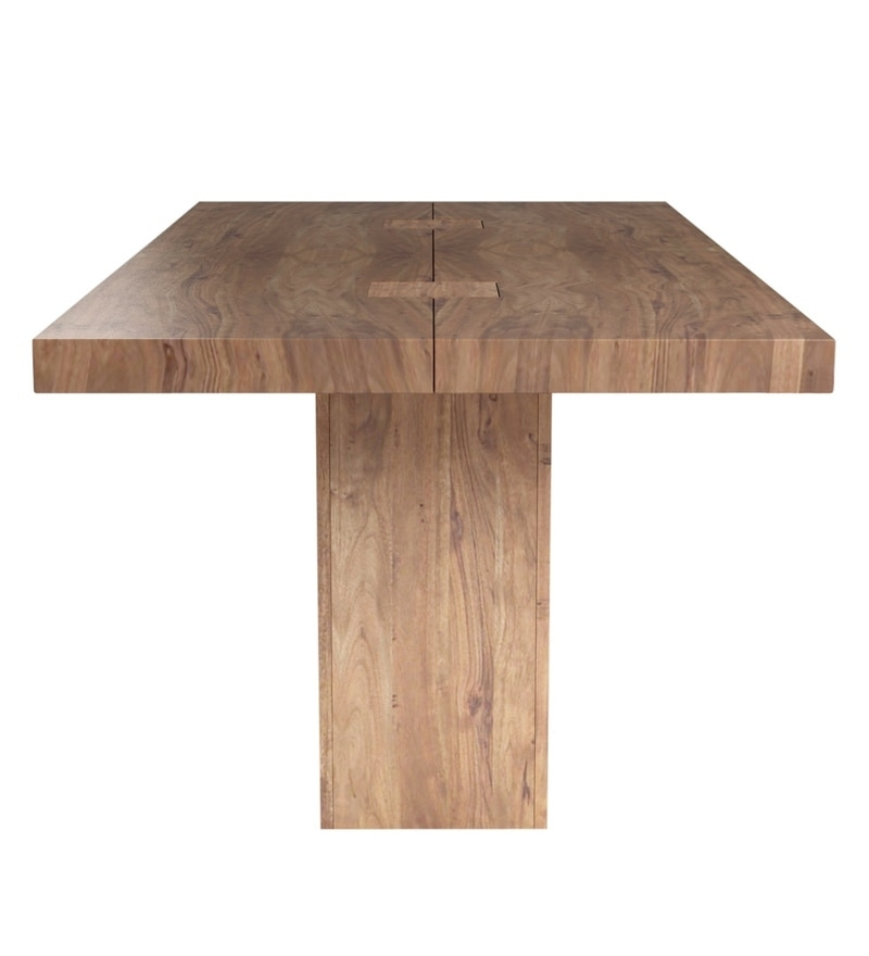 Buy Portland Solid Wood Six Seater Dining Table In Premium Acacia Inside Portland 78 Inch Dining Tables (Image 3 of 25)