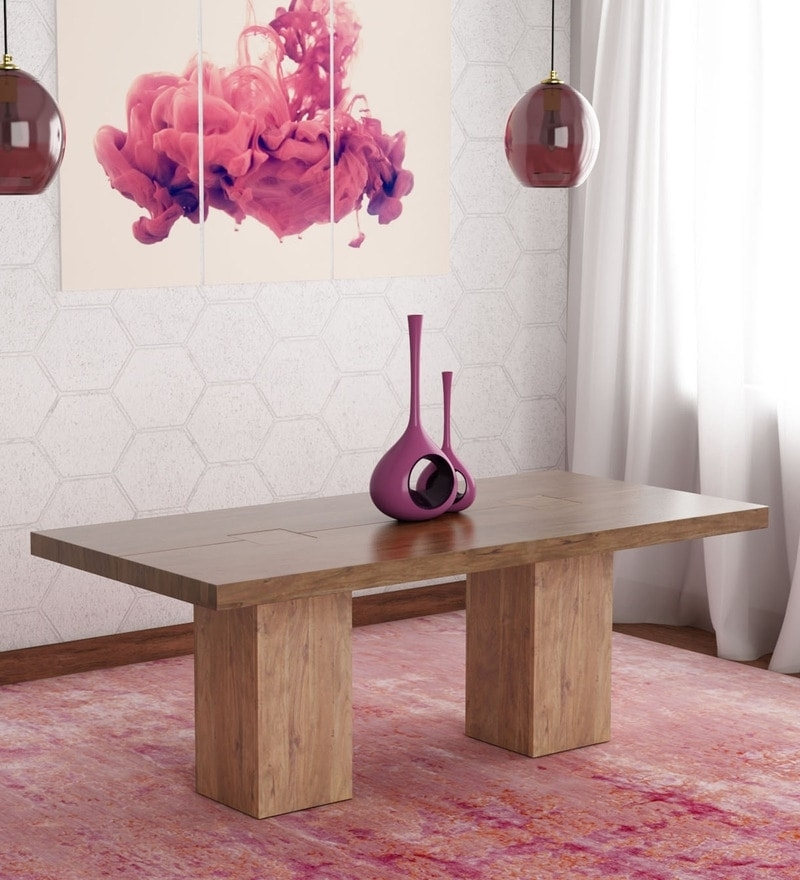 Buy Portland Solid Wood Six Seater Dining Table In Premium Acacia With Portland 78 Inch Dining Tables (Image 4 of 25)