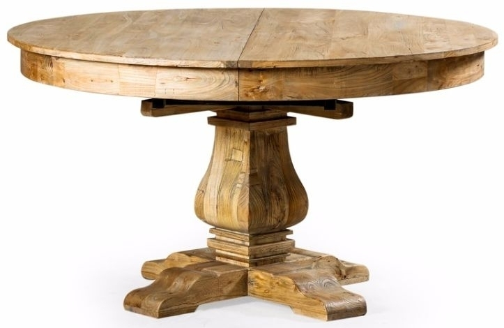Buy Reclaimed Elm Round Extending Large Dining Table – 145Cm 185Cm Regarding Extending Round Dining Tables (Image 6 of 25)
