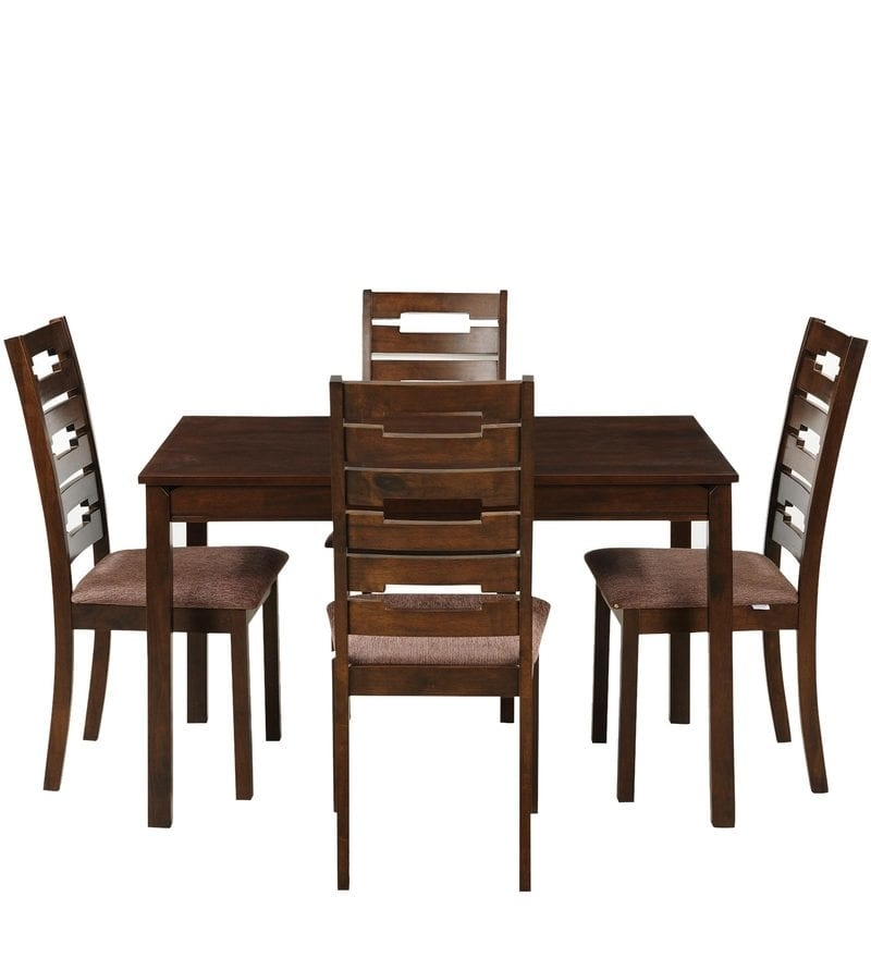 Buy Rocco Four Seater Dining Set In Walnut Finishroyal Oak In Rocco 7 Piece Extension Dining Sets (Image 5 of 25)