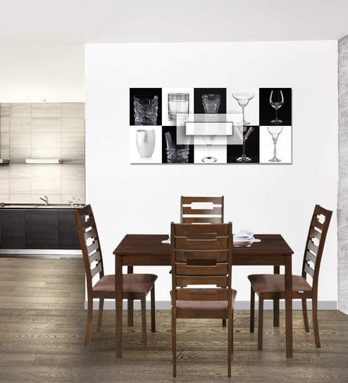 Buy Rocco Four Seater Dining Set In Walnut Finishroyal Oak Inside Rocco Extension Dining Tables (Image 4 of 25)