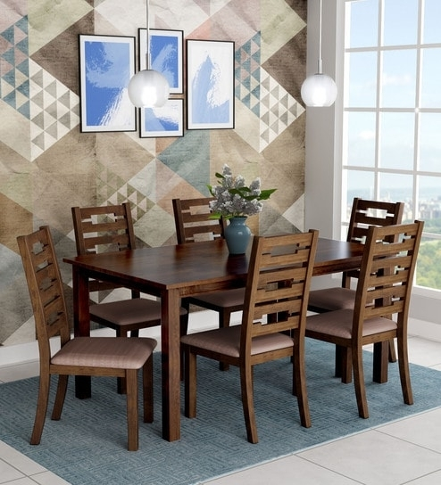 Buy Rocco Six Seater Dining Set In Walnut Finishroyal Oak Online Within Rocco Extension Dining Tables (Image 5 of 25)