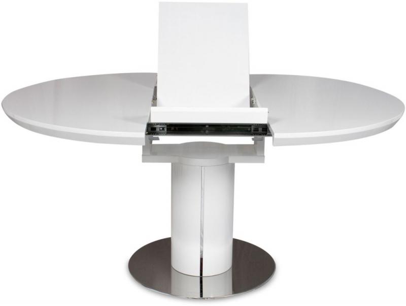 Buy Romeo White High Gloss Dining Table – 120Cm 160Cm Round For Round High Gloss Dining Tables (Image 9 of 25)