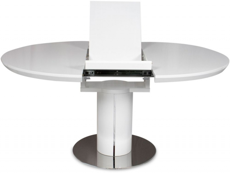 Buy Romeo White High Gloss Dining Table – 120Cm 160Cm Round Within White Gloss Dining Tables 120Cm (Image 9 of 25)