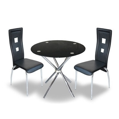 Buy Round Glass Dining Table & 4 Chairs – Black | Konga Online Shopping For Black Glass Dining Tables And 4 Chairs (View 25 of 25)