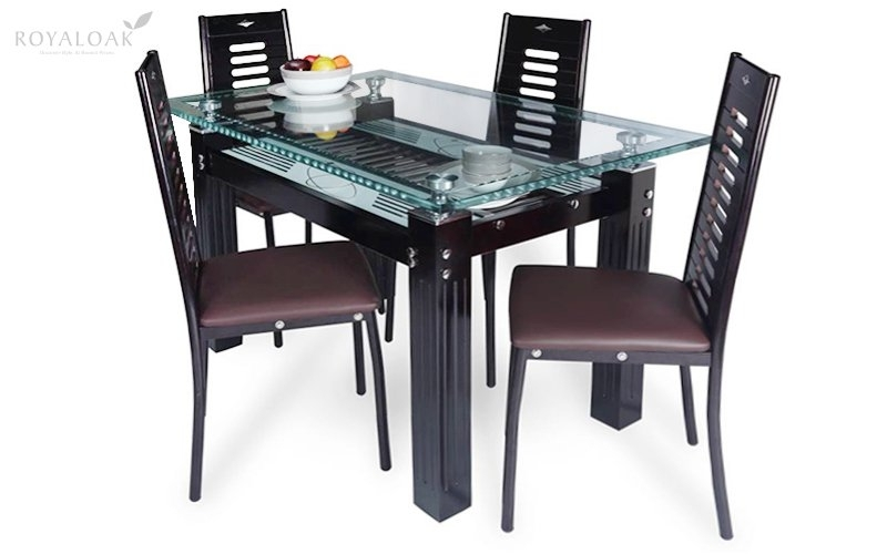 Buy Royaloak County 4 Seater Dining Set With Tempered Glass Top And For Oak Glass Top Dining Tables (View 18 of 25)